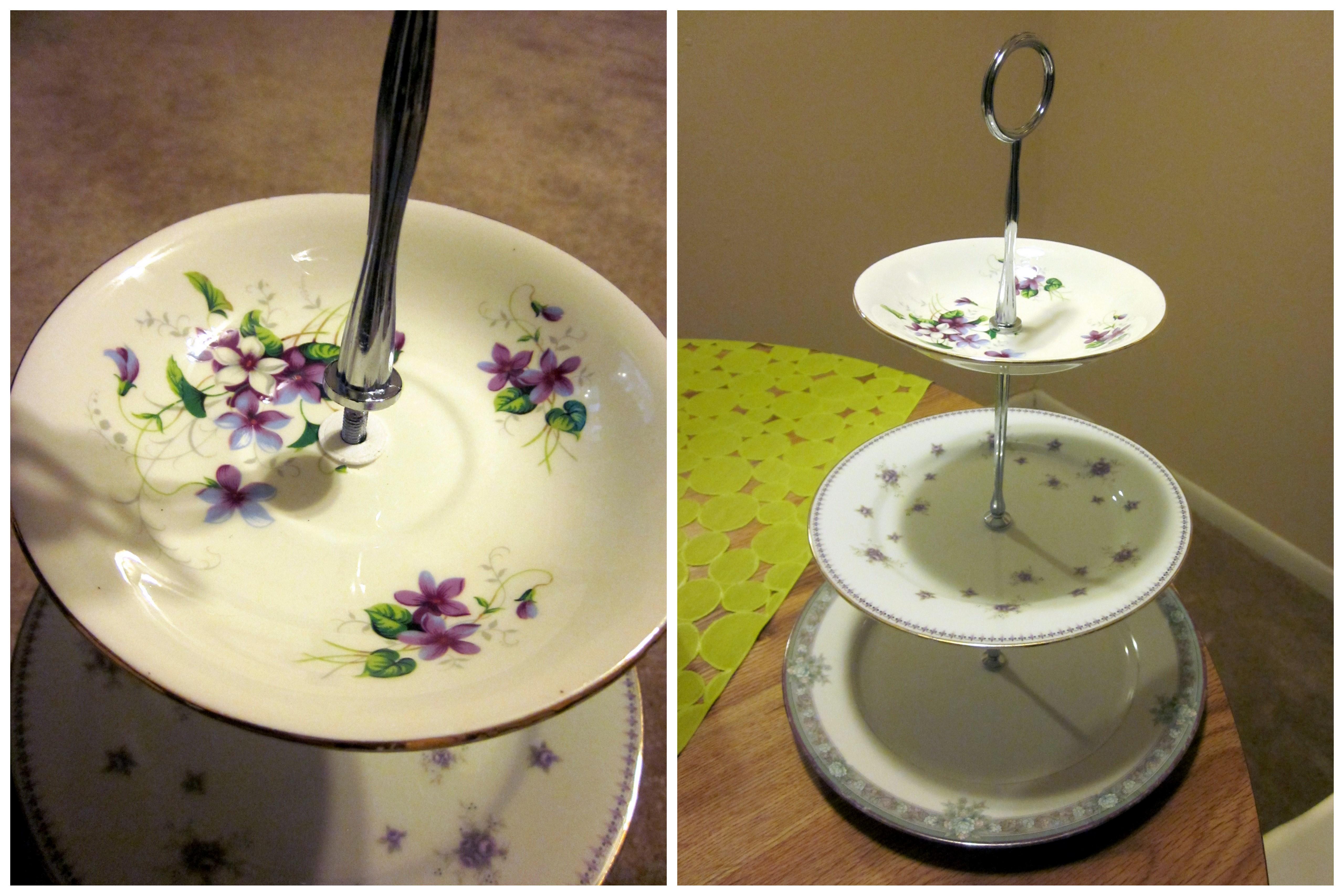 Semi diy cake cupcake stand semi diy for Plate cake stand diy