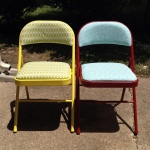Painted and reupholstered chairs